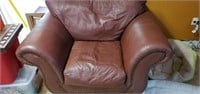 Dark Maroon Oversized Leather Like Chair