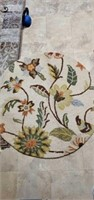 Small Round MultiColored Floral Rug