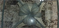 Large Architectural Metal Glass Top Table