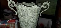 Beautiful Floral Metal Handled Vase