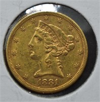 1881-S GOLD $5 - UNCIRCULATED