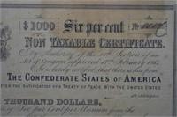 1864 $1000 Confederate Stock / Bond Certificate