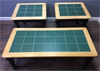 3 PIECE GREEN TILE & WOOD COFFEE TABLE & 2 END