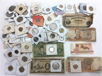 VINTAGE FOREIGN CURRENCY, COINS & BILLS