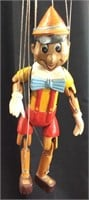 VTG. WOODEN HAND CARVED PINNOCHIO MARINETTE PUPPET