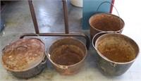 4 Cast Iron Pans w/Handles