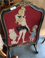 Antique Needlepoint Dressing Screen