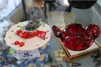 1958 Wall Pocket & Indiana Glass Red Bird