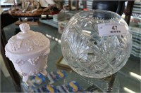 Crystal Bowl & Milk Glass Covered Dish