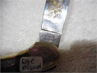 """Eye Brand 3.75"""" Canoe Etched blade Stag"""