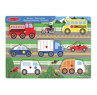 Melissa & Doug Vehicles Wooden Peg Puzzle (8 pcs)