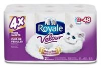Royale Velour 2-Ply Bathroom Tissue, 12 Mega