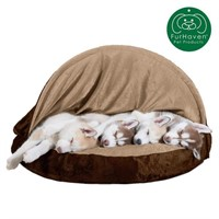 """Fur Haven Round 35"""" Snuggery Burrow Pet Bed,"""