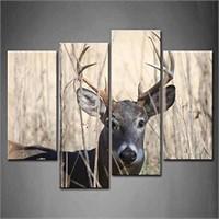 4 Panel Wall Art Whitetail Deer Buck Moving
