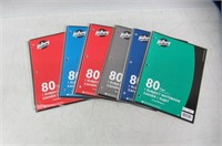 (6) Hilroy 1 Subject Coil Notebooks, Assorted