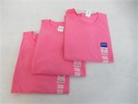 (3) Gildan Women's Large Crewneck T-Shirts, Pink