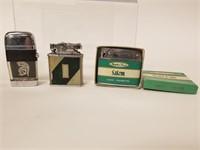 Vintage Elgin cigarette case and 3 lighters