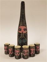 Vintage decanter bottle w/ 6 shot glasses