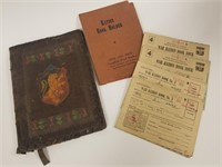 Tooled leather folder w/ WWII ration books