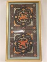 Framed silk embroidery