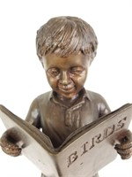 Leonardo Rossi bronze statue of a boy