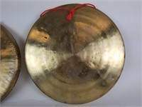 Set of 3 brass Asian gongs and 2 mallets