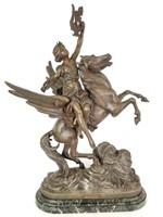 Cast metal Pegasus and greek woman statue