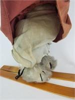 Vintage Kangaroo plush with skis