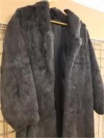 Full length vintage rabbit fur coat
