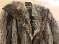 Full length vintage raccoon fur coat