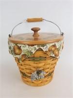 2002 Longaberger Sage Autumn Pail Basket Combo