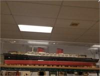 Large ocean liner model in display case