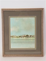 Artist signed watercolor harbor scene