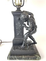French Ferville-Suan metal statue table lamp