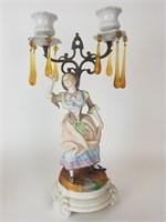 Bisque figural 2 lite candelabra