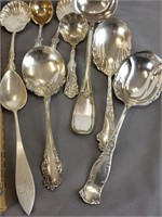Lot of silver plate serving spoons & ladles
