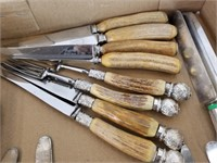 Lot of silver plate and stag handle cutlery