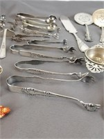 Lot of silver plate tongs, scissors and more