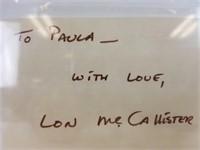 Lon McCallister autographed index card