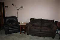 Love Seat, End Table, Quilt Rack, Recliner, &