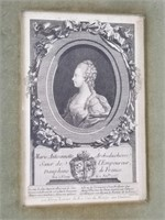 Etching of Marie Antoinette and fabric piece