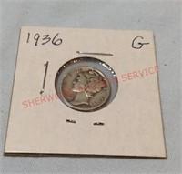 1936 G Mercury Dime