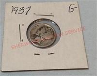 1937 G Mercury Dime