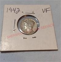 1942 VF Mercury Dime