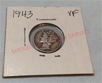 1943 VF Mercury Dime