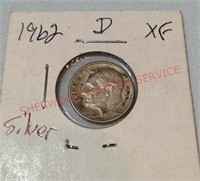 1962d XF Silver Roosevelt Dime