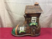 Vintage Ceramic Old Shoe House Cookie Jar