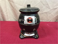 Japanese Brownware Handpainted Stove Cookie Jar