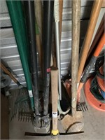 Assortment on Shovels, Hole Diggers and Rakes