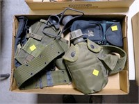 Lot, pistol belts, canteen, ammo pouches